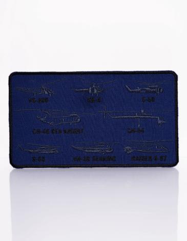 Нашивка Гелікоптери Сікорського. Колір синій. Маємо тут шеврони з найкращими винаходами одного з кращих авіаторів світу — Ігоря Сікорського.
