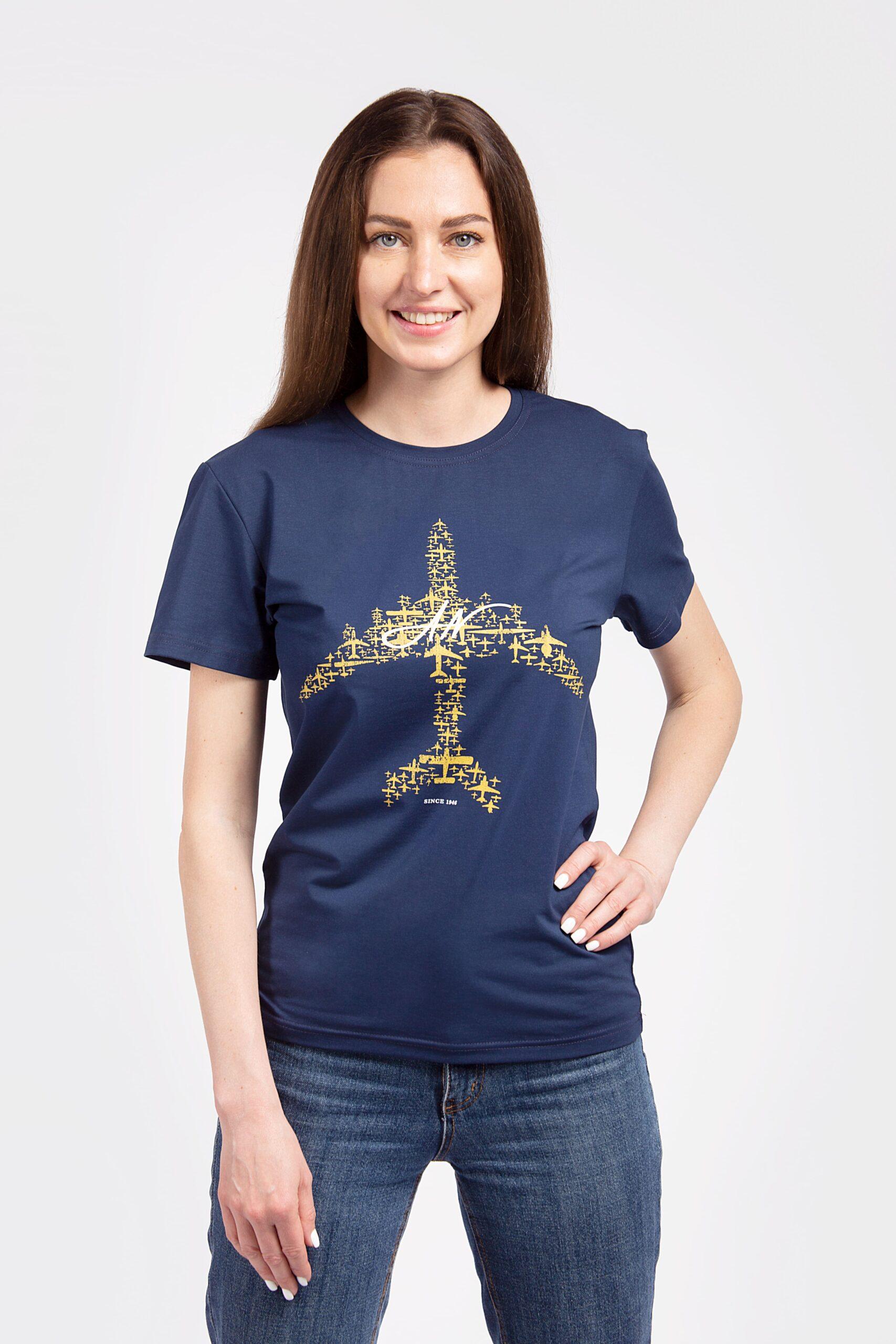 Women's T-Shirt An. The Greatest Hits. Color navy blue. T-shirt celebrates 75th anniversary of Antonov company.