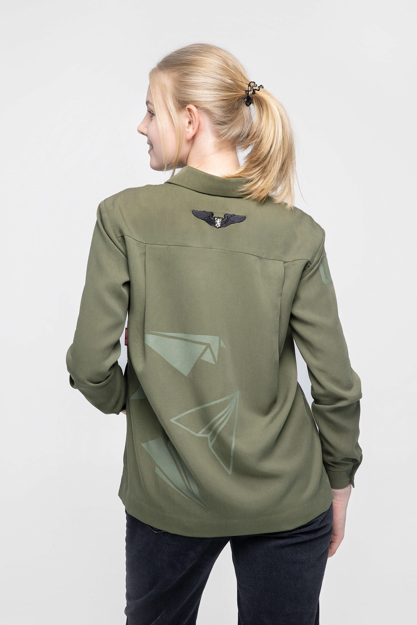 Women's Shirt Paper Wings. Color khaki.  Technique of prints applied:embroidery, silkscreen printing.