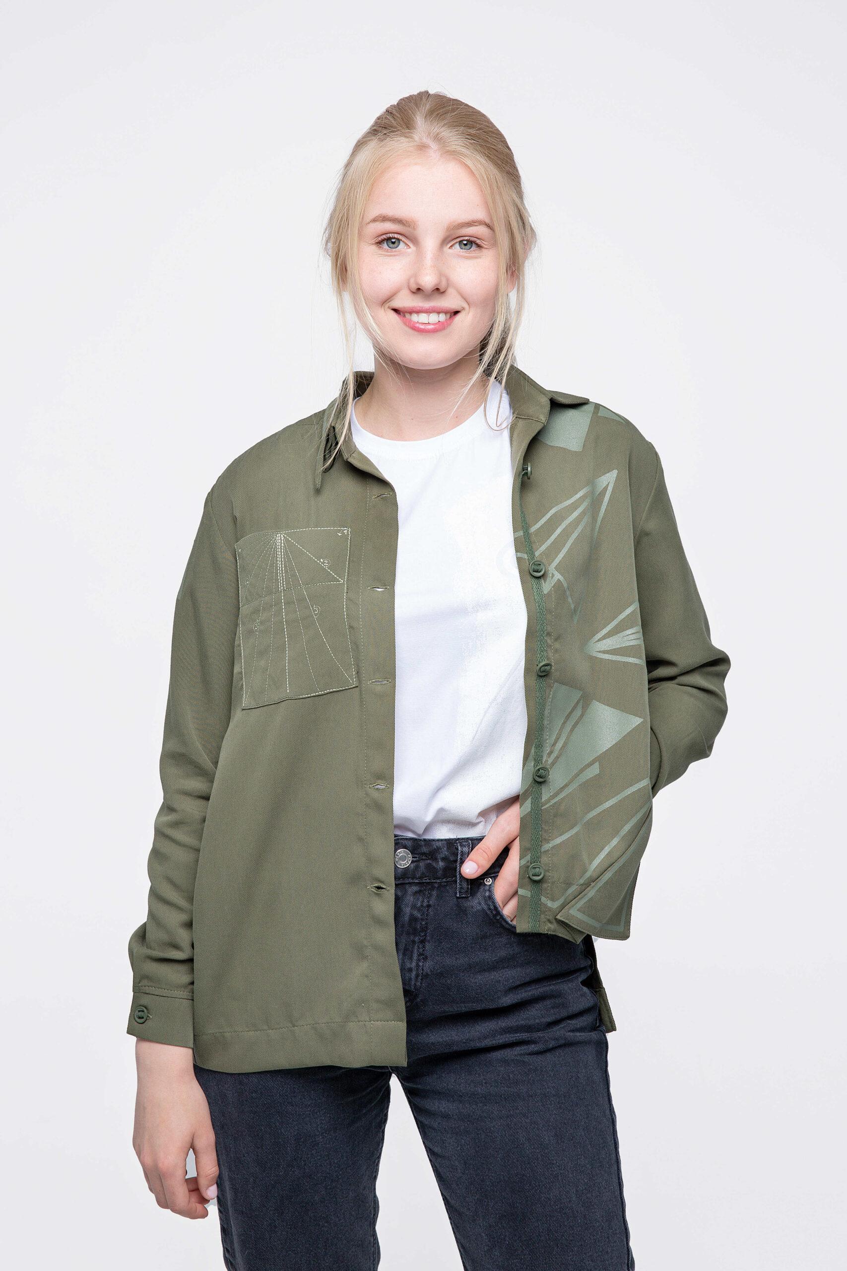 Women's Shirt Paper Wings. Color khaki.  Size on models: XS.