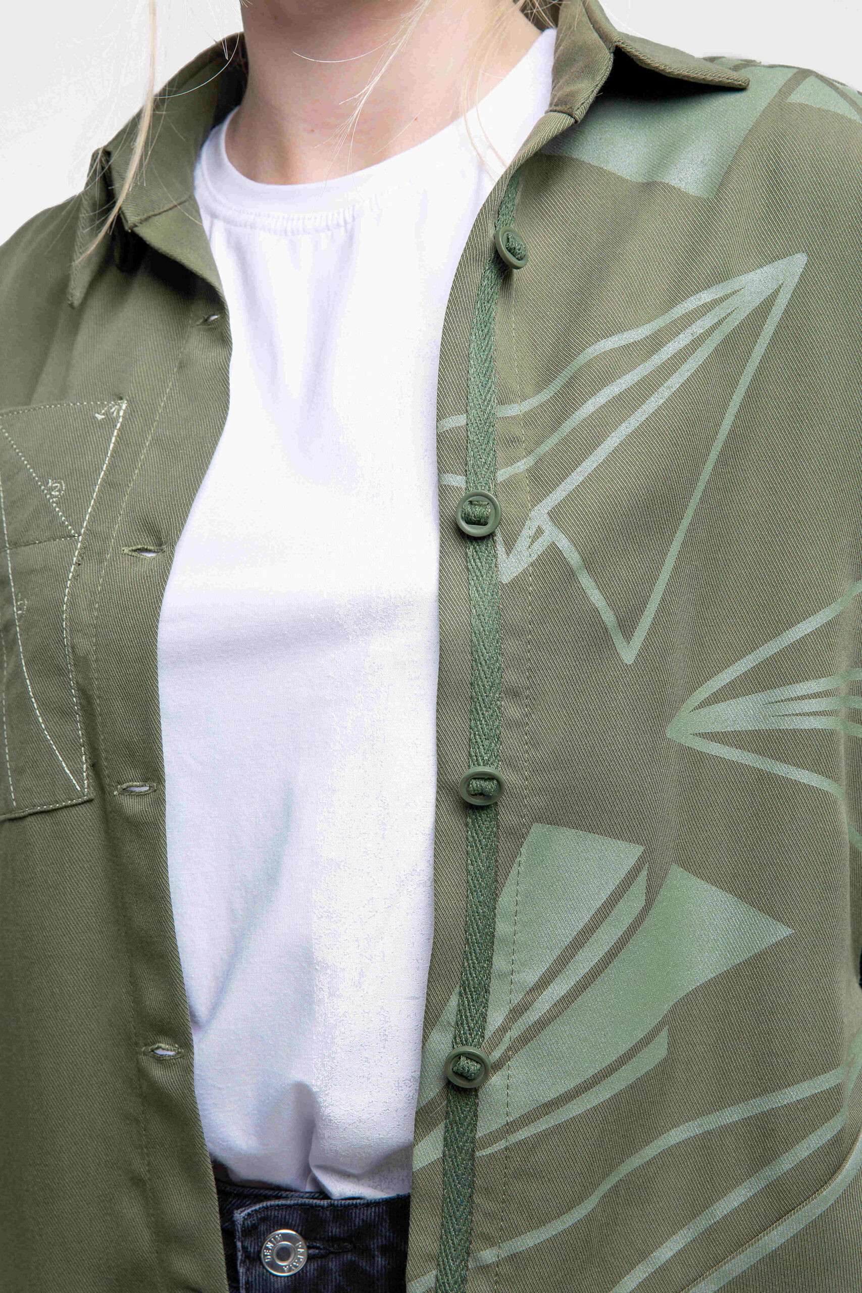 Women's Shirt Paper Wings. Color khaki.  Height of models: 173 cm.