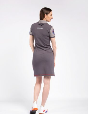 Women's Dress-Polo Shirt Molfars' Second Expedition. Color dark gray. Pique fabric: 100% cotton.