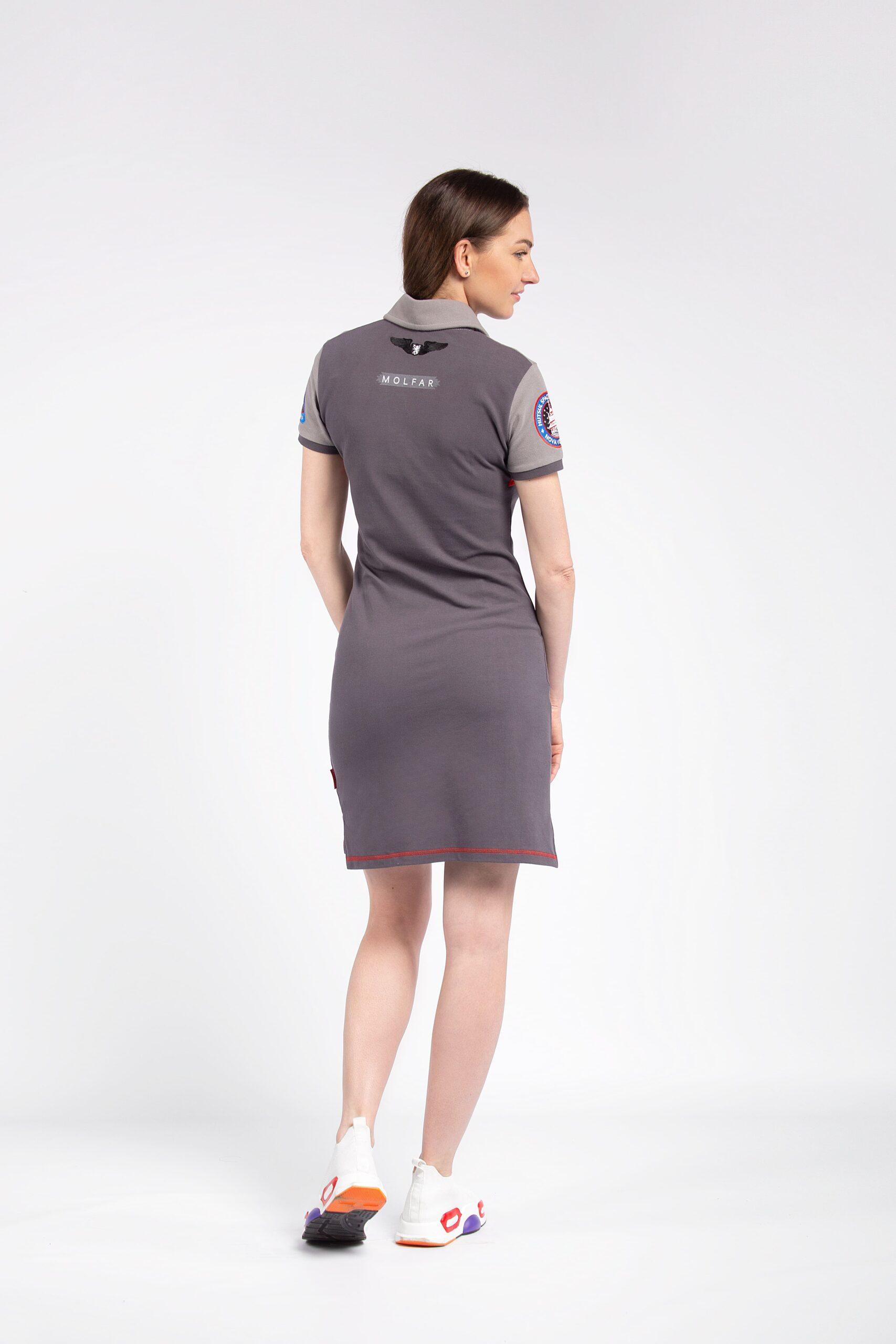 Жіноча Сукня-Поло Друга Експедиція Мольфарів. Колір темно-сірий.  Технологія нанесення зображень: вишивка, шовкодрук.