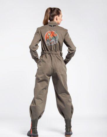 Women's Jumpsuit Unrestrainable In Spirit. Color khaki. Material – 100% cotton.