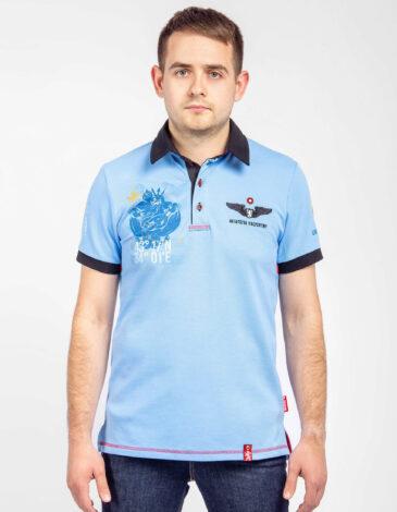 Чоловіче Поло Готові Негайно. Колір блакитний. Тканина піке: 100% бавовна.