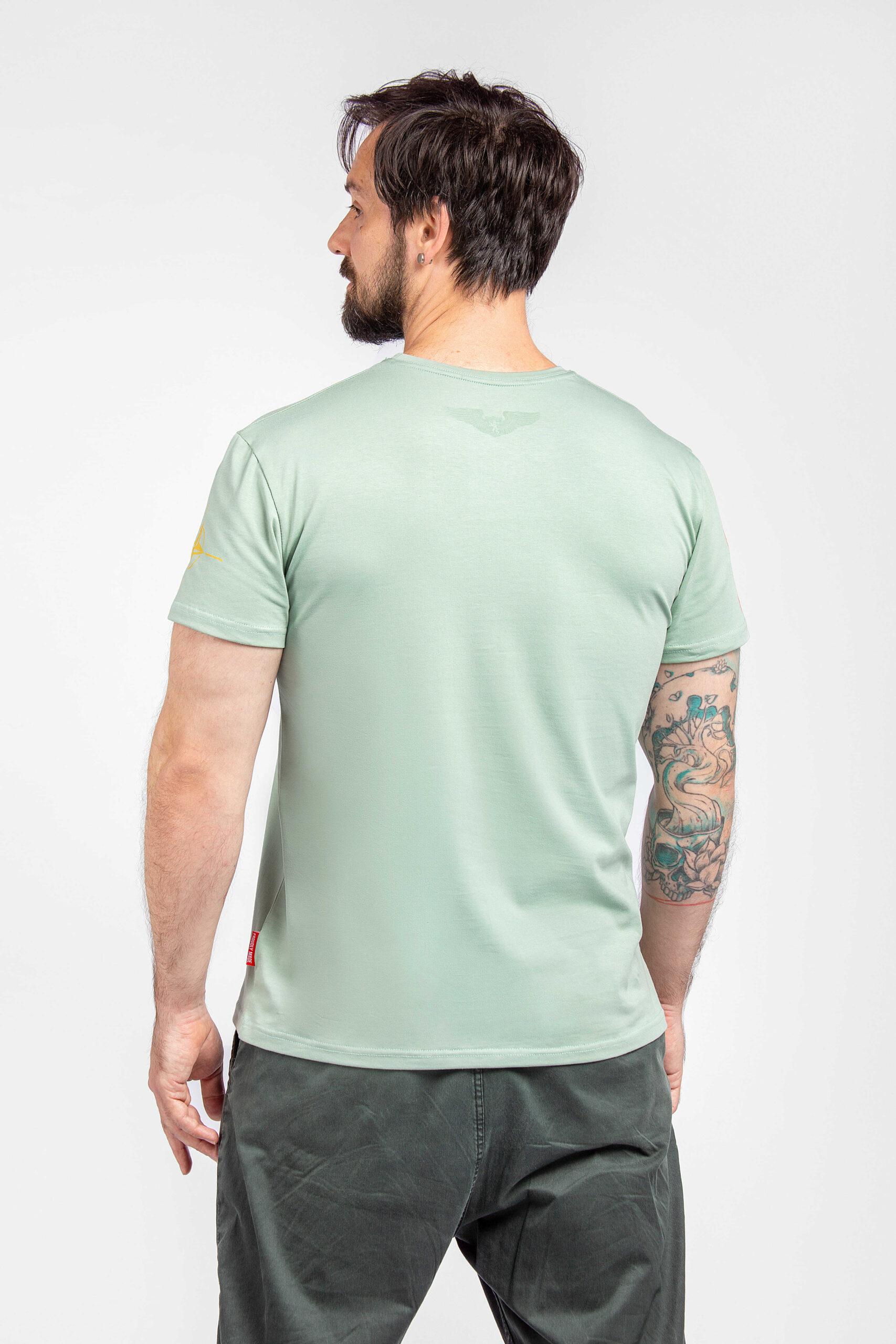 Men's T-Shirt Defenders Of The Sea. Color mint.  Material: 95% cotton, 5% spandex.