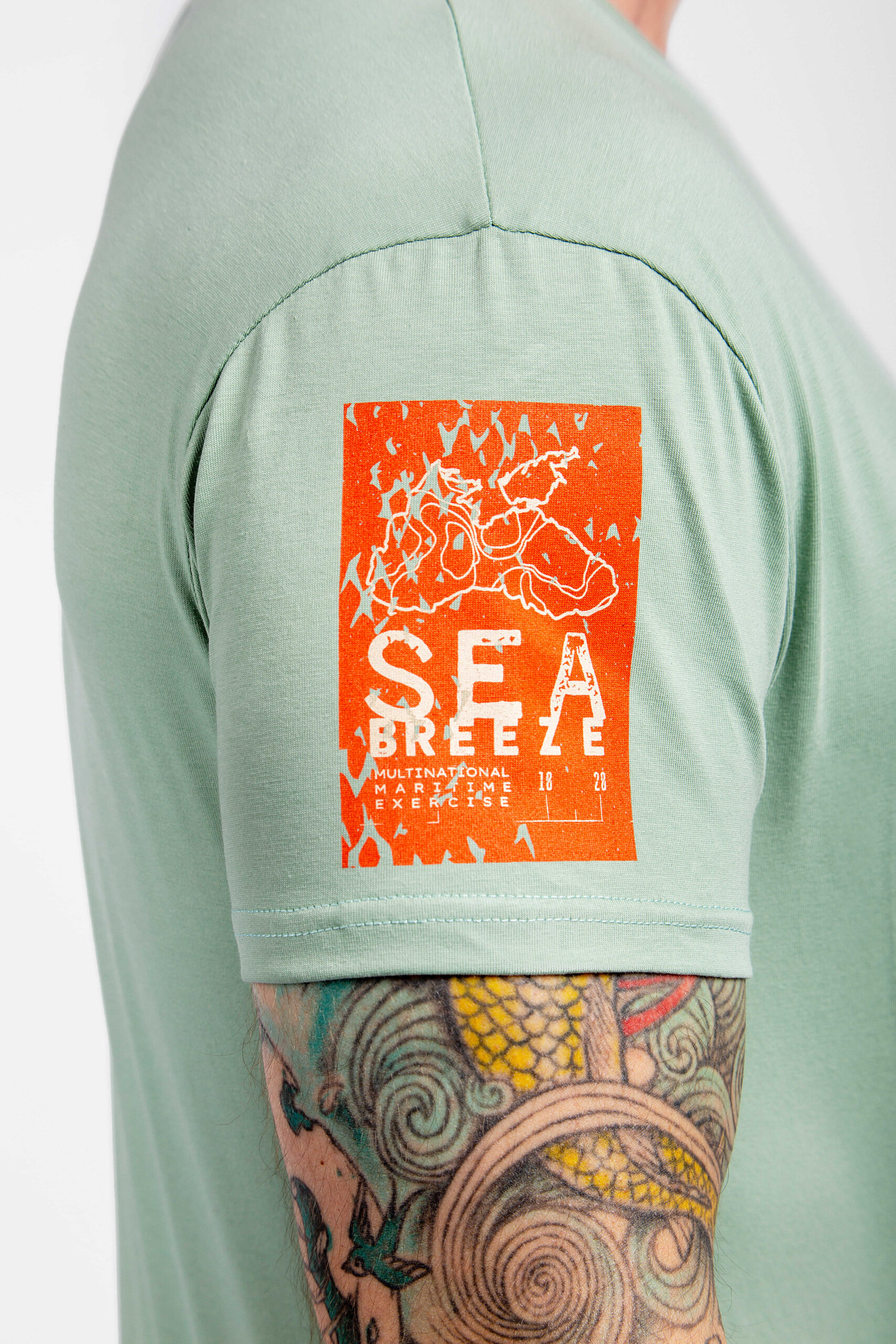 Men's T-Shirt Defenders Of The Sea. Color mint.  Technique of prints applied: silkscreen printing.