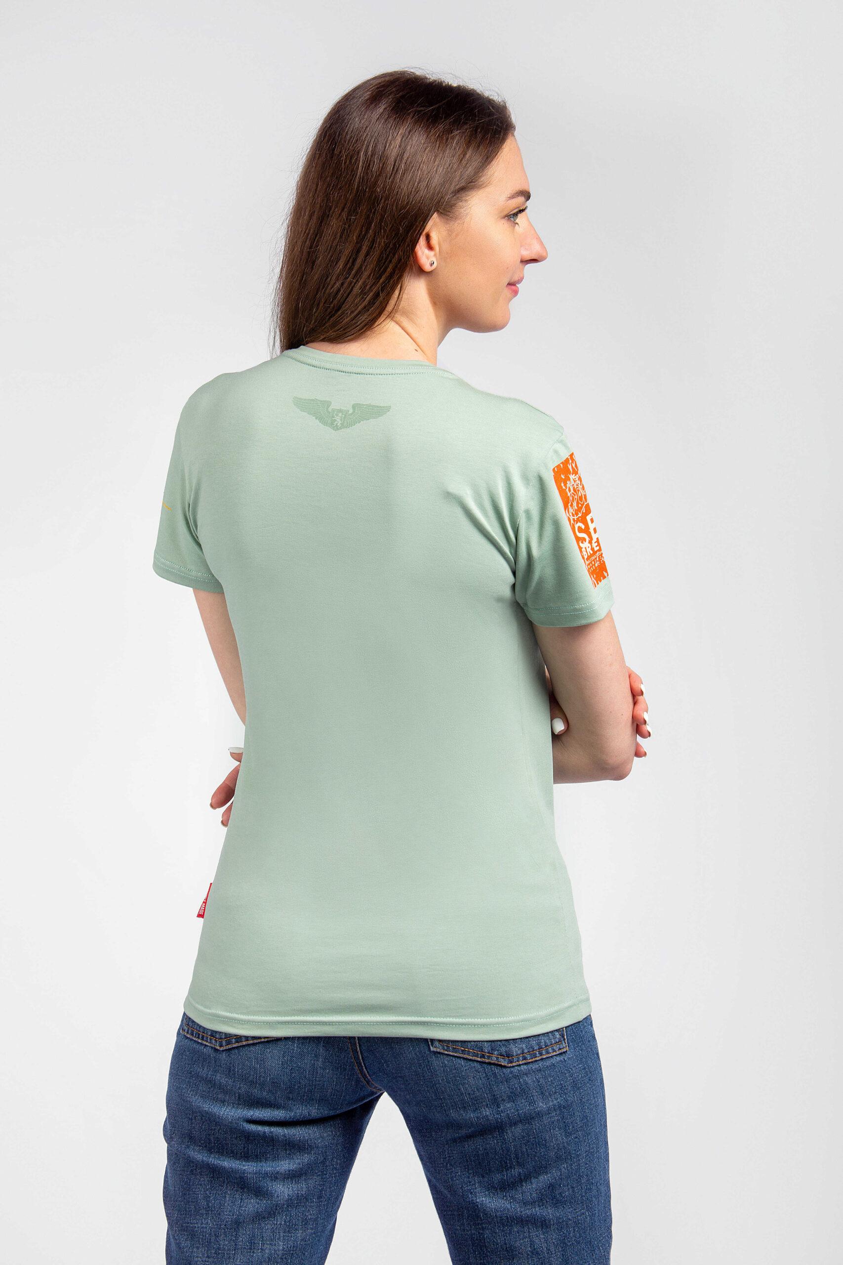 Жіноча Футболка Захисники Морів. Колір м'ятний.  Не варто переживати за універсальний розмір.