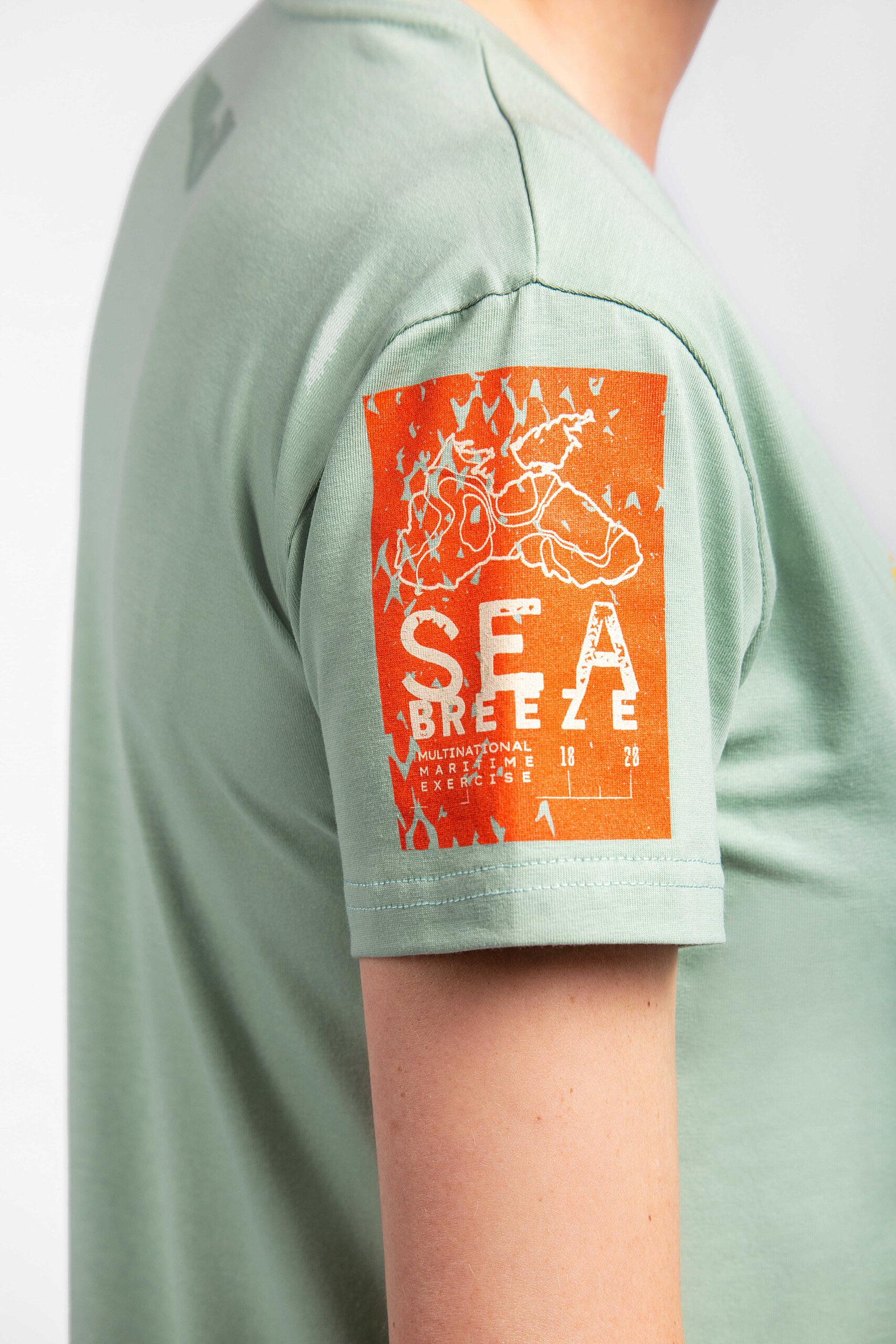 Жіноча Футболка Захисники Морів. Колір м'ятний.  На жіночій фігурі футболка виглядає просто чудово! Матеріал: 95% бавовна, 5% спандекс.