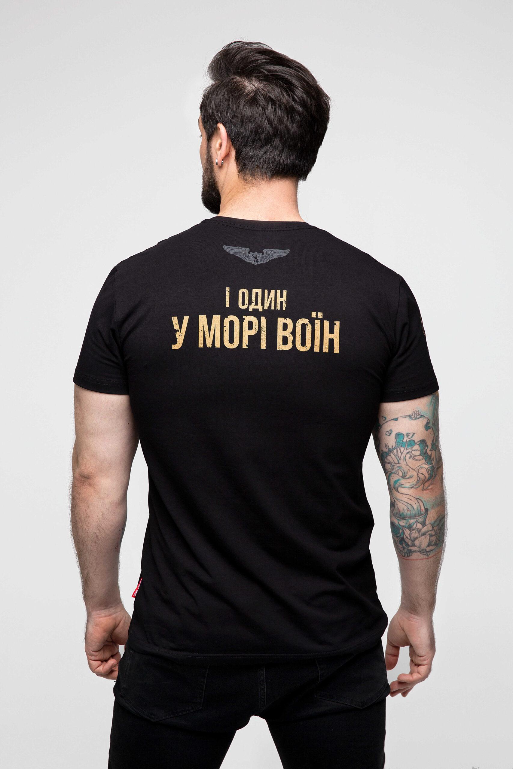 Men's T-Shirt Sahaidachnyi. Color black.  Material: 95% cotton, 5% spandex.