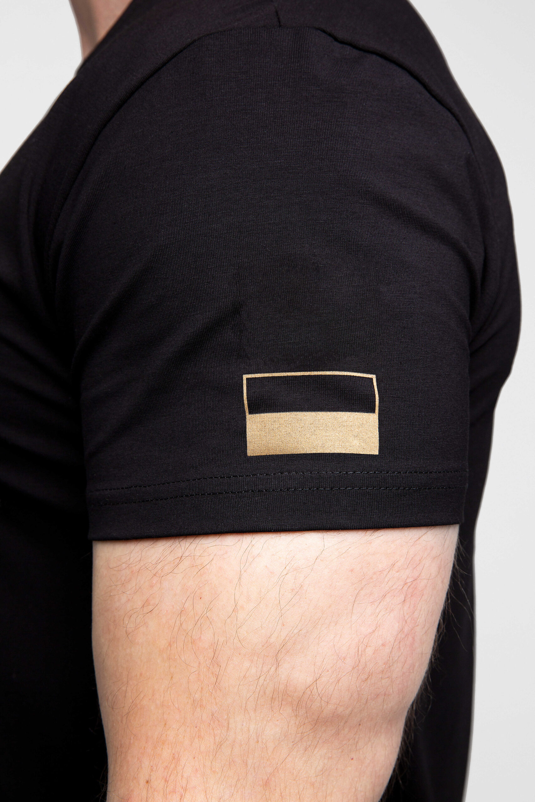Men's T-Shirt Sahaidachnyi. Color black.  Size worn by the model: L.