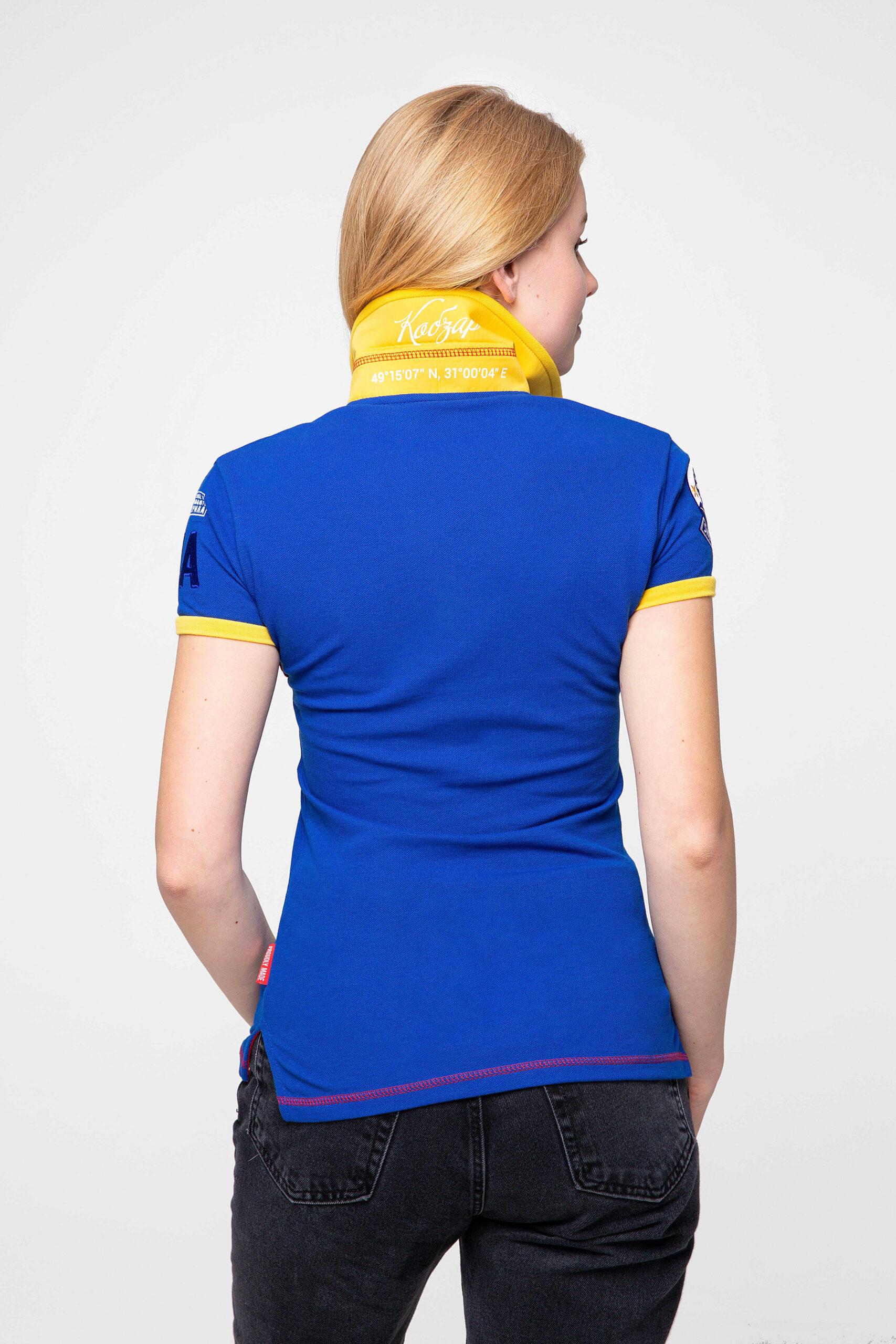 Жіноче Поло Тарас Шевченко. Колір синій.  Розмір на моделі: XS.