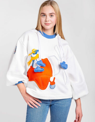 Women's Hoodie Penguin. Color white. kids version of hoodie is here Three-cord thread fabric: 77% cotton, 23% polyester.