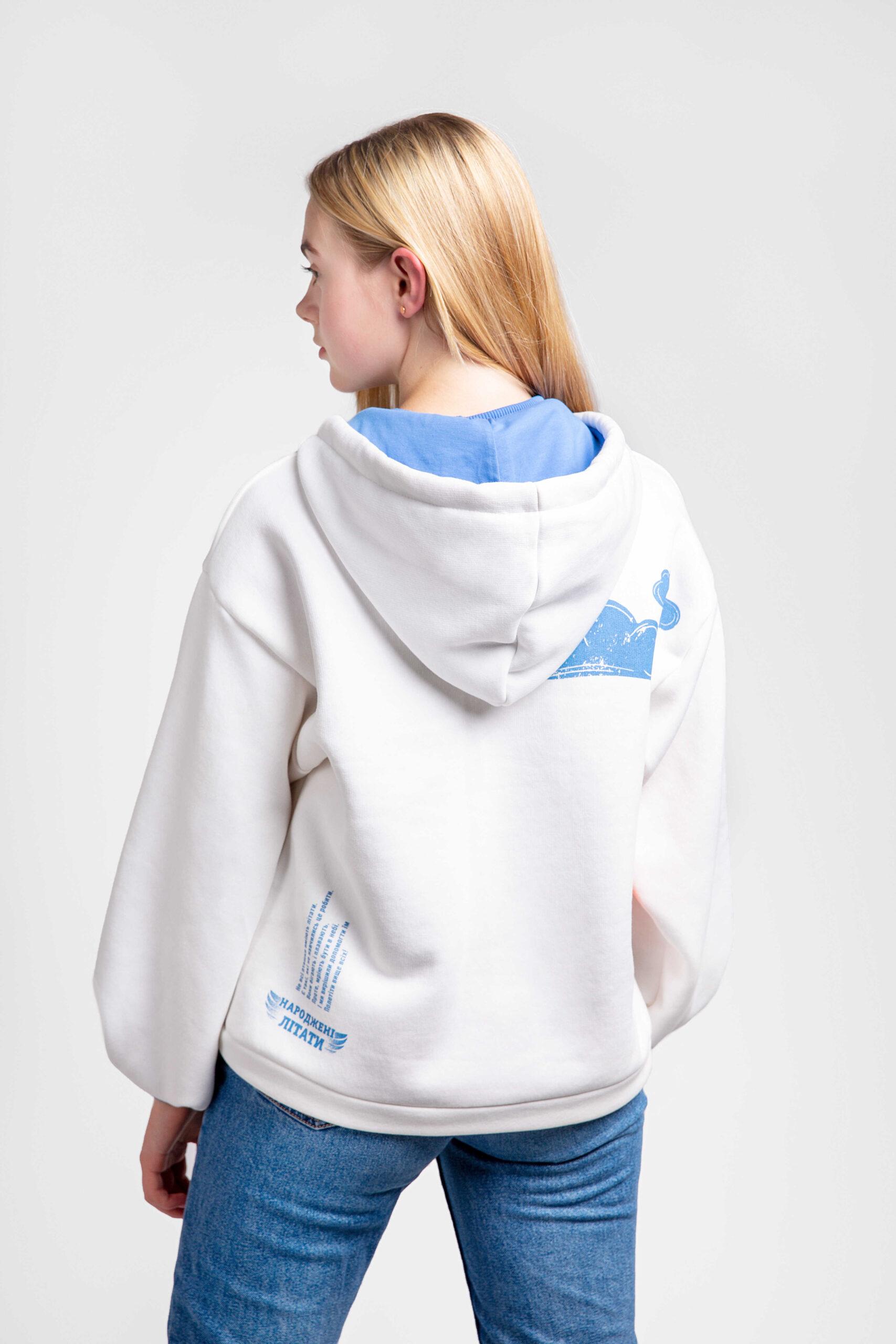 Жіноче Худі Пінгвін. Color white.  Технологія нанесення зображень: шовкодрук, вишивка, шеврони.