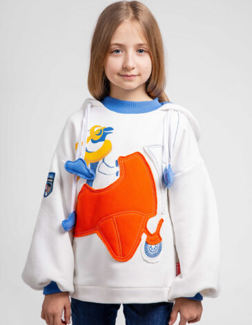 Kids Hoodie Penguin. Color white. Adult size can be purchased here Hoodie: unisex, well suited for both boys and girls.