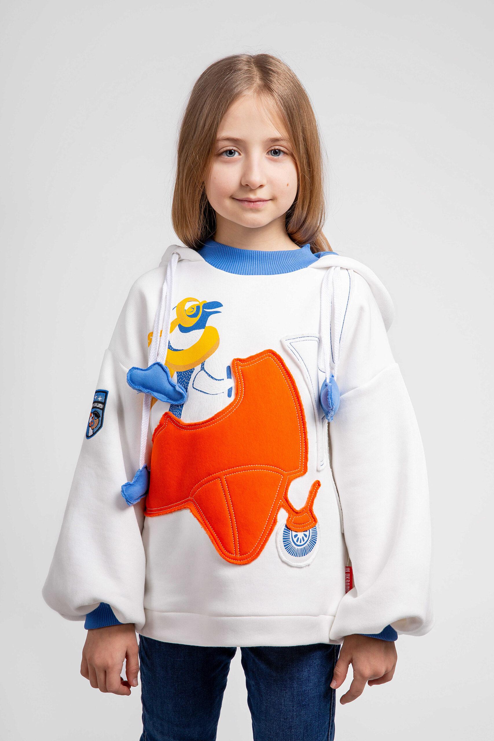 Дитяче Худі Пінгвін. Color white. Дорослий розмір можна придбати тут  Матеріал худі – тринитка: 77% бавовна, 23% поліефір.