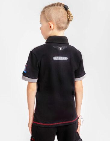Kids Polo Shirt Molfars' Second Expedition. Color dark gray. Pique fabric: 100% cotton.