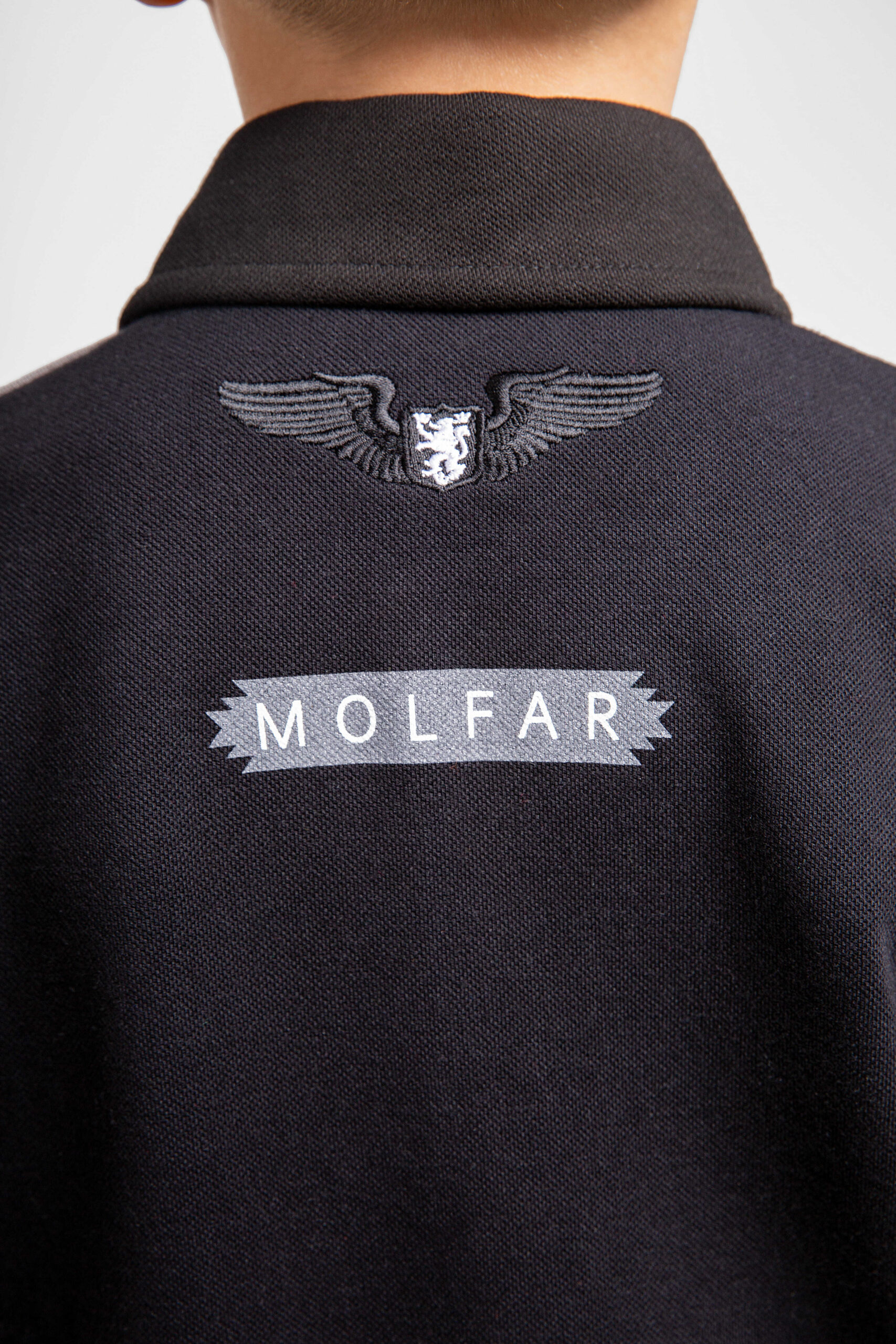 Kids Polo Shirt Molfars' Second Expedition. Color dark gray.  The color shades on your screen may differ from the original color.