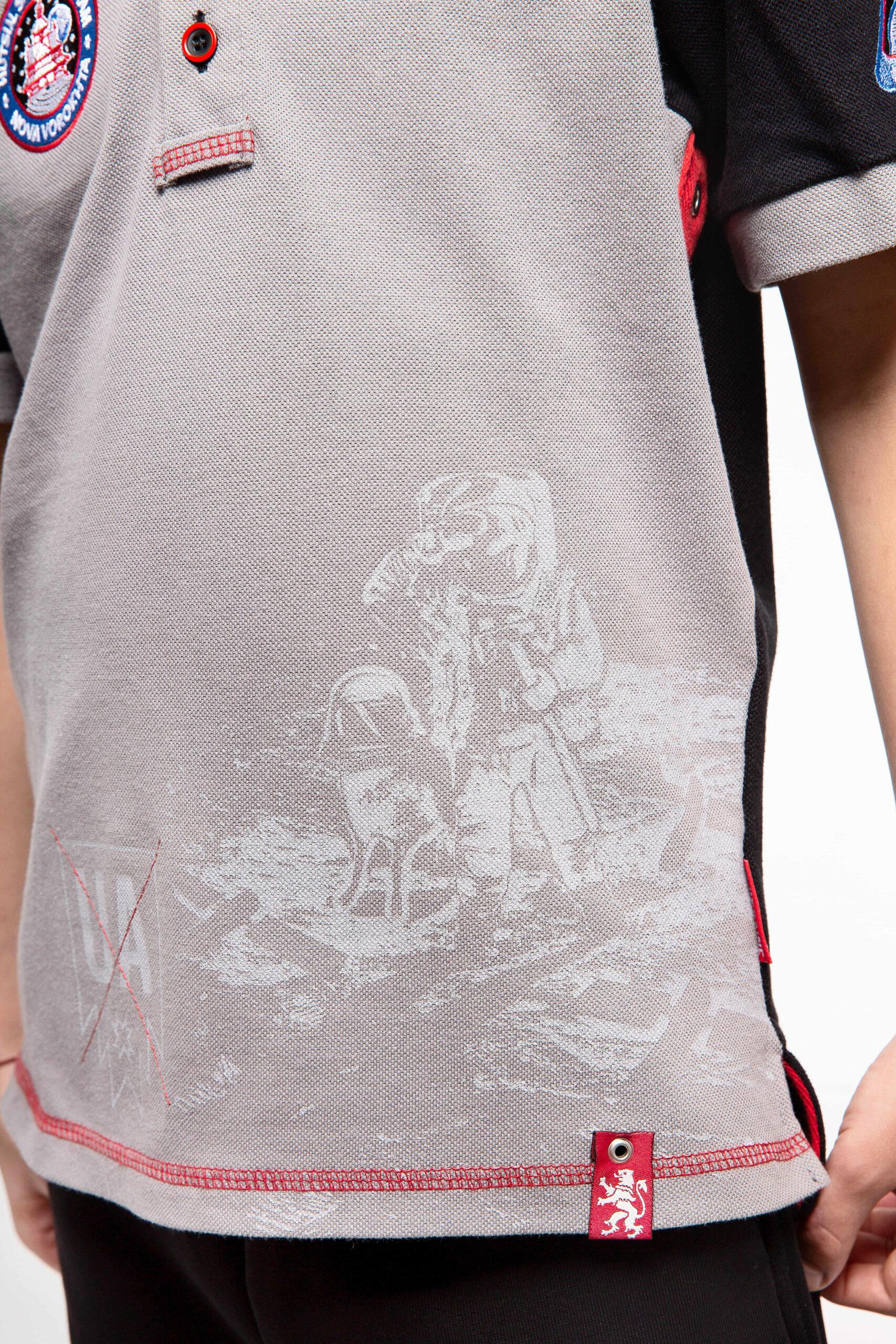 Kids Polo Shirt Molfars' Second Expedition. Color dark gray. 4.