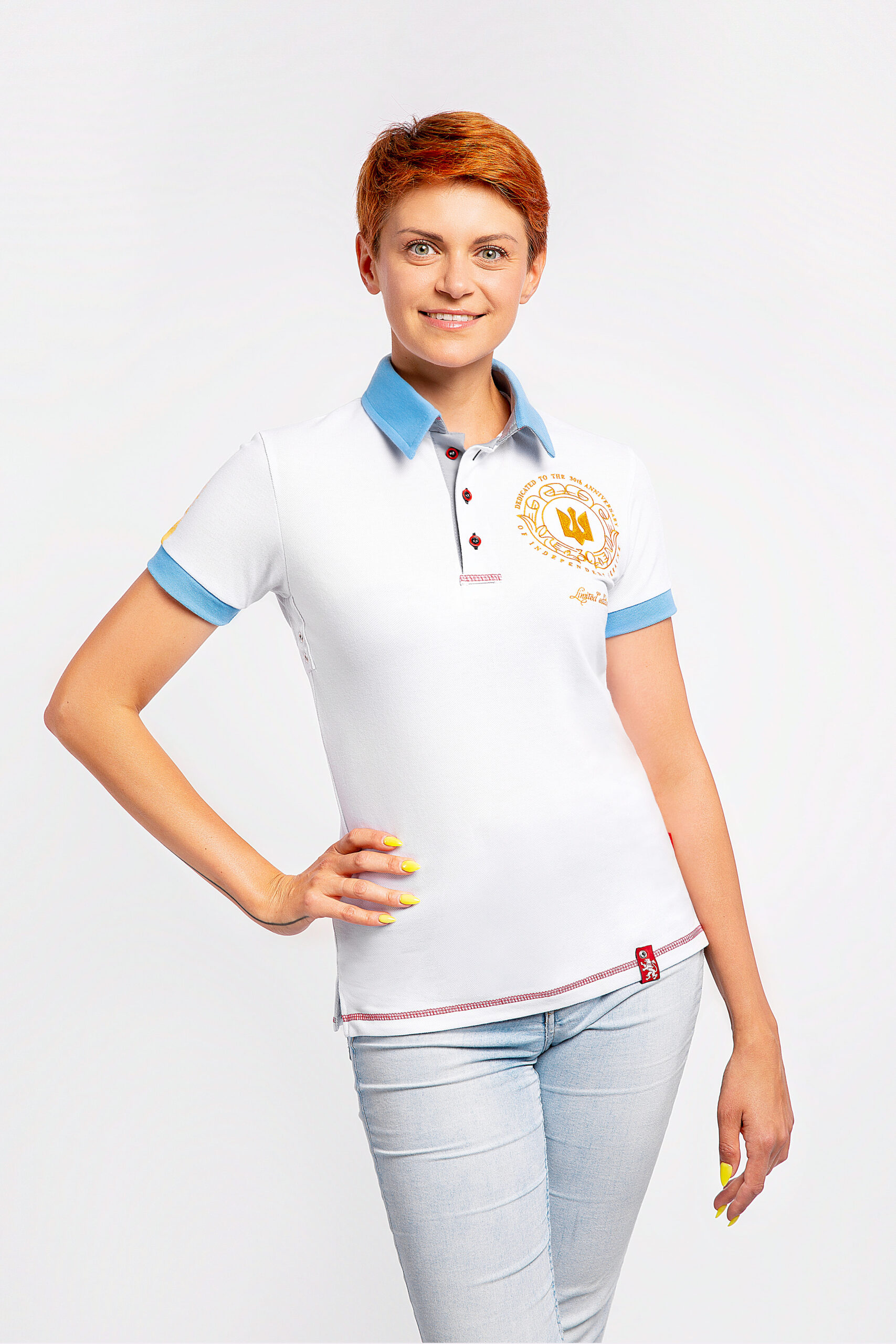 Women'S Polo 30 Years Of Independence. Color white. Pique fabric: 100% cotton.