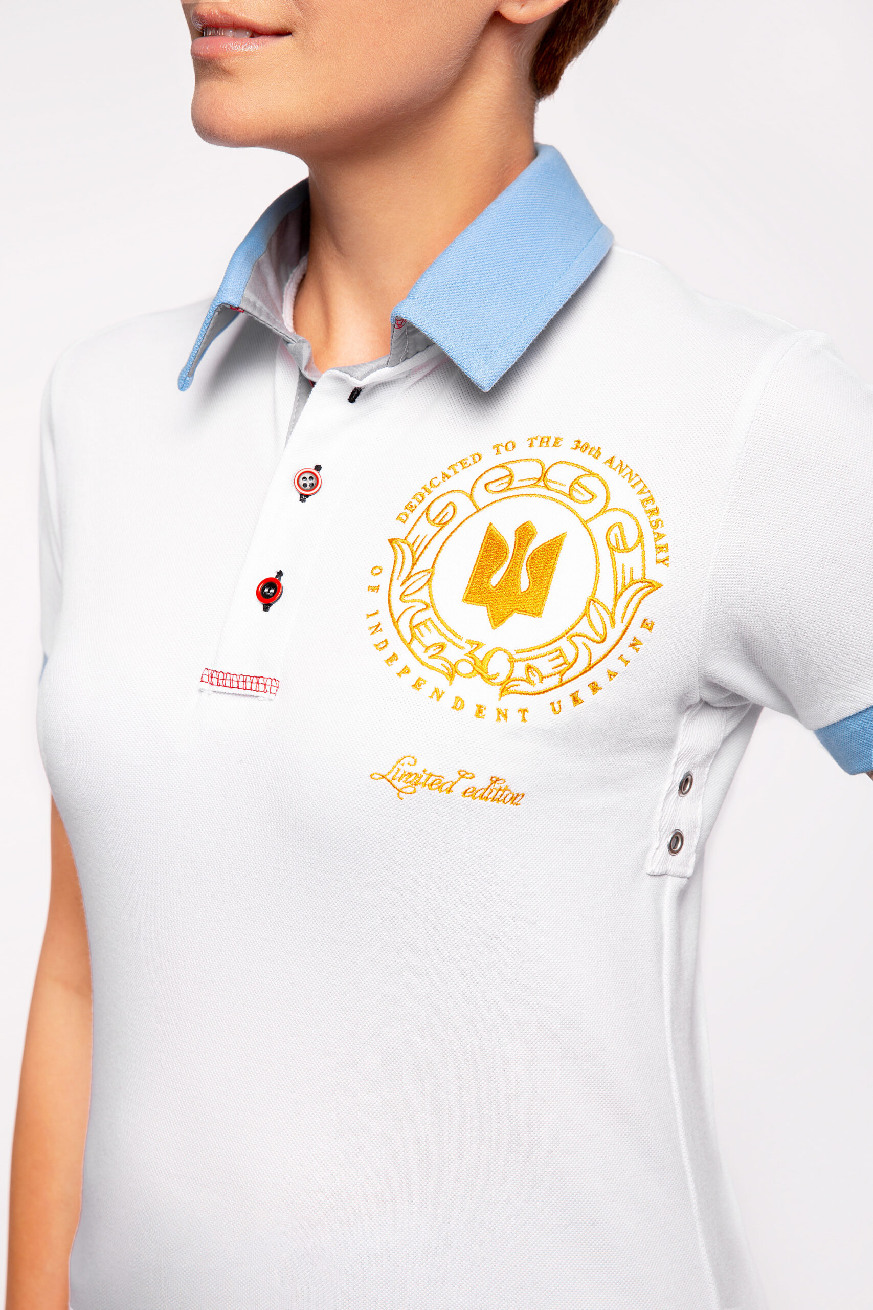 Women'S Polo 30 Years Of Independence. Color white.  The color shades on your screen may differ from the original color.