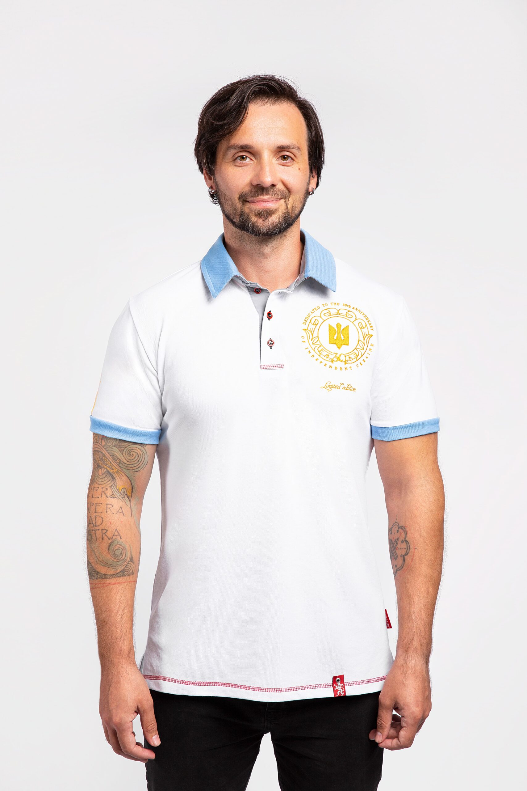Men'S Polo 30 Years Of Independence. Color white. Limited edition polo dedicated to 30th anniversary of Ukraine's independence.
