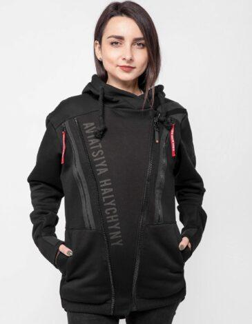 Women's Hoodie Runway. Color black. Unisex hoodie (men's sizes).