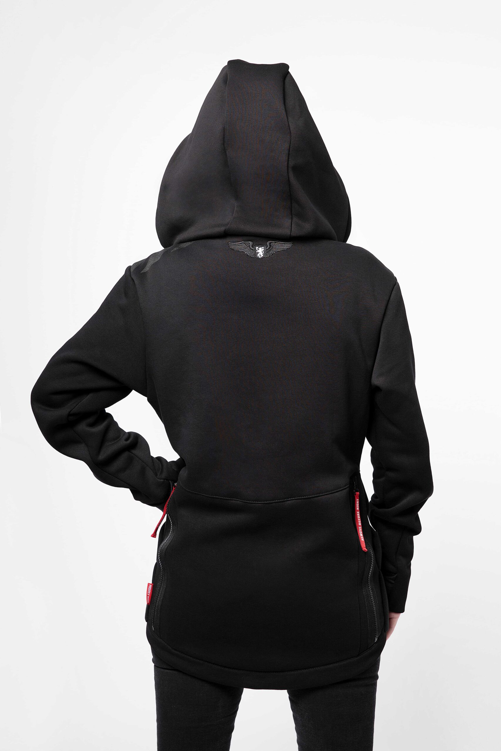 Жіноче Худі Злітна Смуга. Колір чорний.  Розмір на моделі: XS.