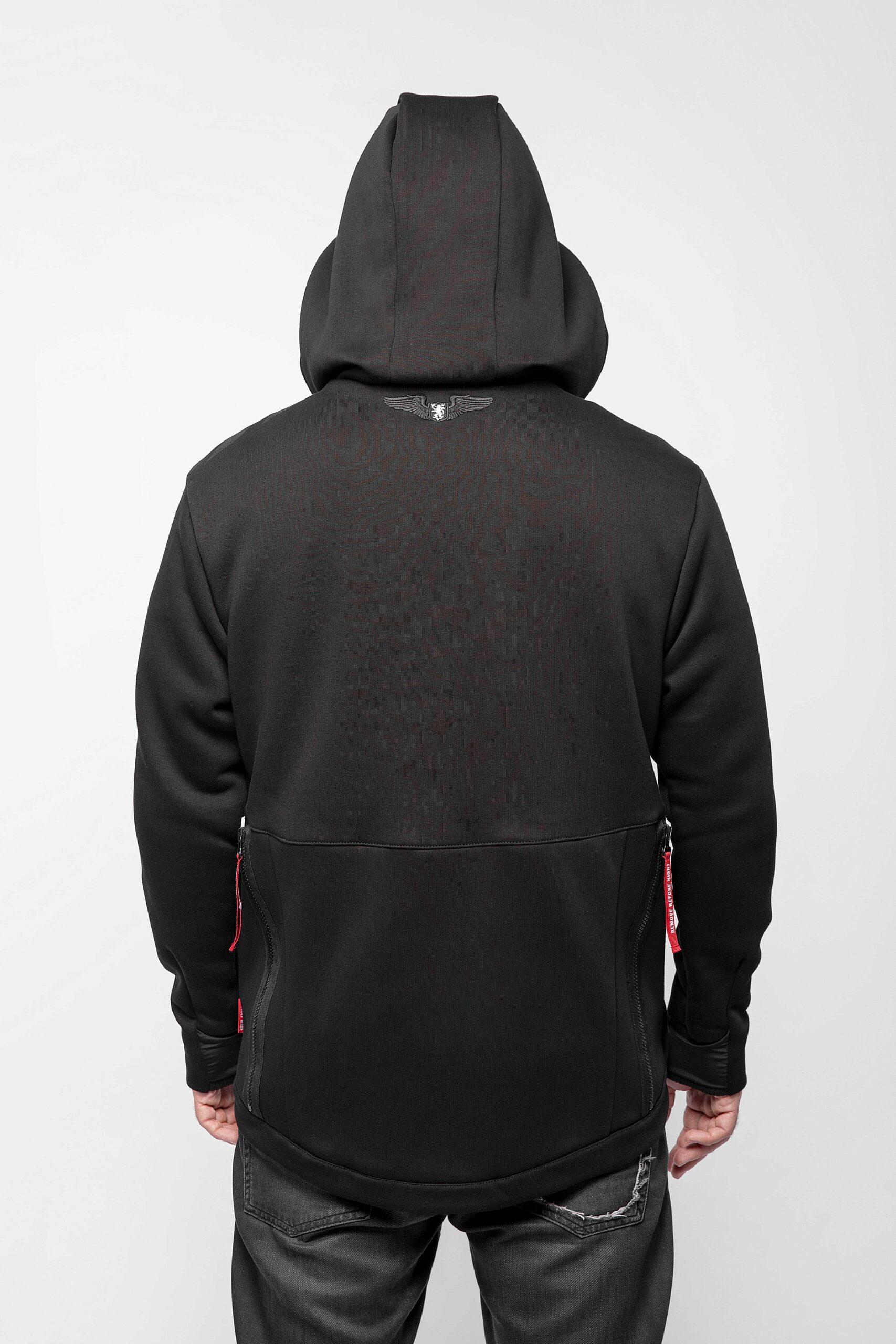 Чоловіче Худі Злітна Смуга. Колір чорний.  Зріст моделі: 180 см.