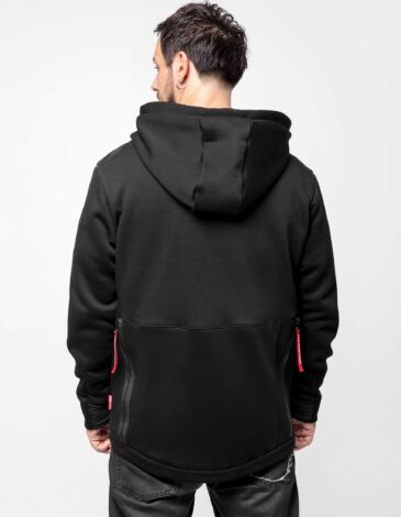 Men's Hoodie Runway. Color black. Three-cord thread fabric: 77% cotton, 23% polyester.
